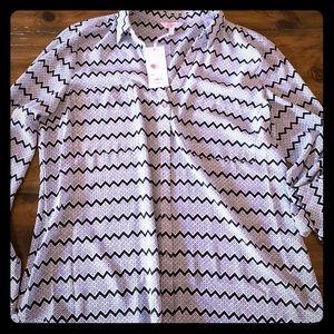 Candie's chevron tie sleeve blouse
